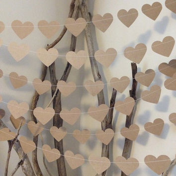3 Metres Large Natural Shabby Chic Heart Garland - home decor, country chic, wedding, party decoration, baby shower decoration, photo prop