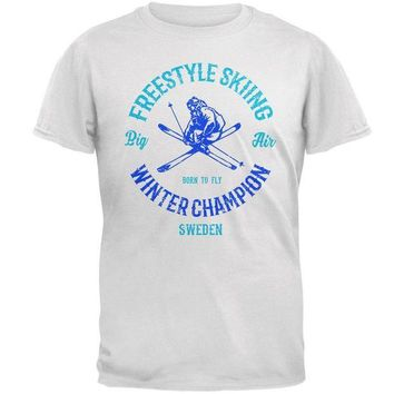 VONE05Y Winter Games Freestyle Skiing Champion Sweden Mens Soft T Shirt