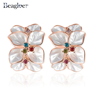 Beagloer Wedding Jewelry Women Earrings Rose Gold Plate Genuine SWA Elements Austrian Crystal Enamel Flower Earring ER0099