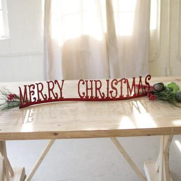 Set of 2 Table Top Of Mantle Merry Christmas