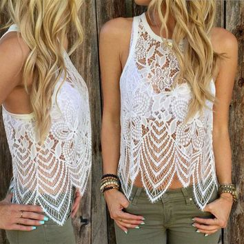 Eyelash Lace Round Collar Sleeveless Beach T-Shirt