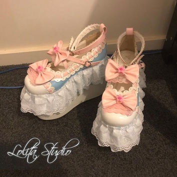 Sweet Classic Lolita Fairy Kei Harajuku Kawaii High Blue Wedge Pink Bows Stars Heart White Layered Laces Ruffle Limited Edition Shoes [S4]