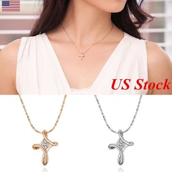 Tiny Zirconia Cross Pendant Necklace Thin Chain Becklace Minimalist Jewelry