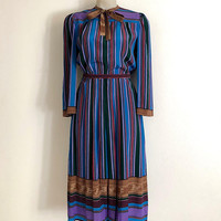 LANVIN!!! Vintage 1970s 'Lanvin' multi coloured striped print dress with pussy bow neck, box pleat skirt and original belt / Made in France