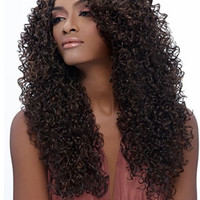 """24"""" Long Curly without Bangs Synthetic Wigs for Women Black"""