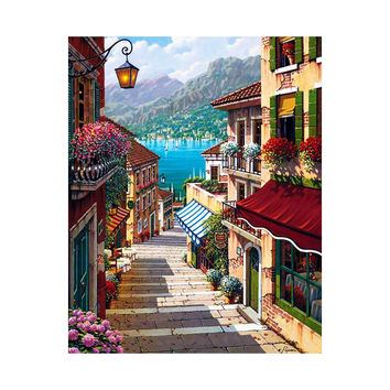 AZQSD 16x20inch No Frame City Street Trail Paint by Numbers Home Decor Wall Art Diy Digital Oil Painting szyh6933