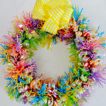 Candy Wreath Rainbow Fruit Flavor Edible Decoration Summer Gift Unique Present Hard Wrapped Candies Centerpiece