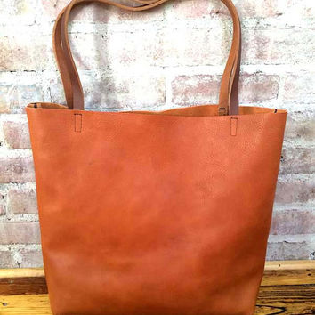 Brown Leather Tote Bag - Distressed large Brown Leather Travel Bag - Leather Market bag