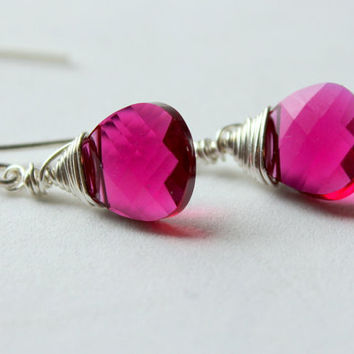 Bridesmaids Earrings Sterling Silver Fuchsia by whiteliliedesigns