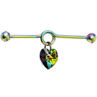 Handcrafted Rainbow Titanium Crystal Heart Dangle Industrial Barbell | Body Candy Body Jewelry