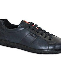 Prada Men's Vitello Calfskin Leather Lace-up Sneaker, Deep Blue 4E2845