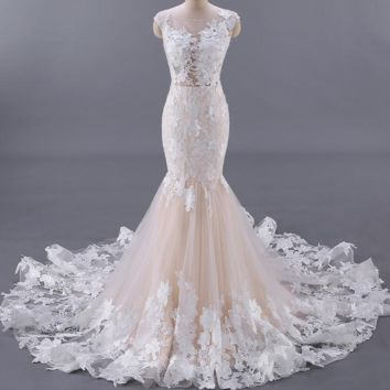 Backless Floral Appliques Sexy Wedding Dress Champagne Color Mermaid Wedding Dresses