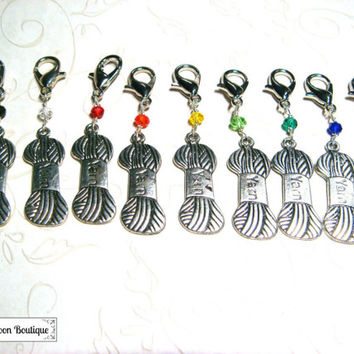 Stitch Markers Crochet Knitting WIP Work In Progress Markers Yarn Knitters Crocheters Stitch Marking Yarn Charms Crochet Hook Your Choice