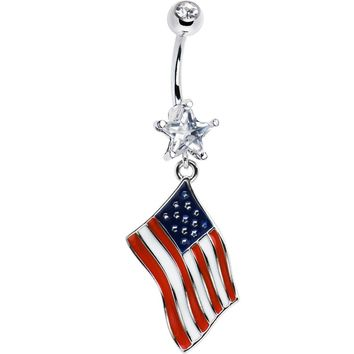 USA American Flag Dangle Belly Ring