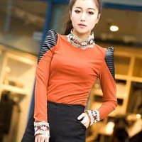 Autumn and winter Korean puff sleeve lace shirt
