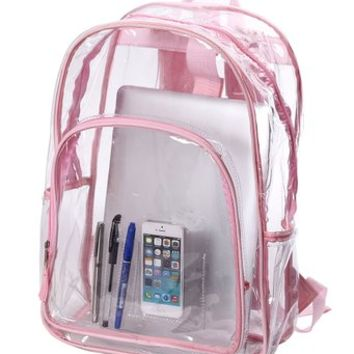 Transparent Clear School Bag See-thru Backpack Casual Daypack Outdoor Knapsack