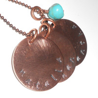 Teacher  Mom Graduation necklaces copper disc with turquoise charm Made to Order
