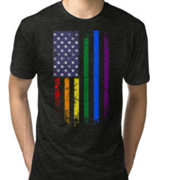 Rainbow American Flag T-Shirt, Gay Pride Day Shirts by angelshirt