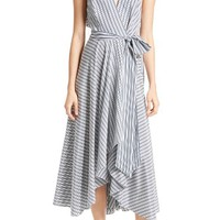 Milly Stripe Midi Wrap Dress | Nordstrom