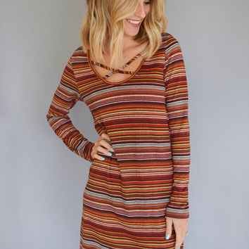 Fall Favorite Striped Dress Rust