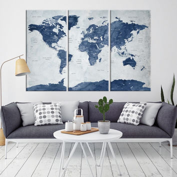 66338 - Large Wall Art World Map Canvas Print- Custom World Map Push Pin Wall Art- Custom World Map Canvas Poster Print- Personalized Wall Art