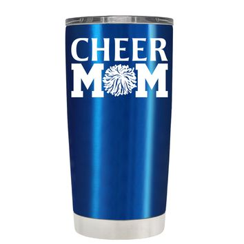 Cheer Mom Pom Pom on Translucent Blue 20 oz Tumbler Cup