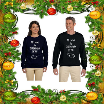 All I Want for Christmas Is You. Couple Sweaters. Unisex Size Crewneck Sweaters. Cozy. Warm Sweaters. Couple Christmas Outfits. Price for 2