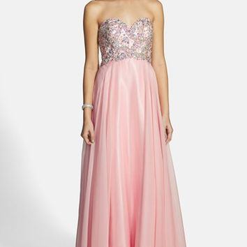 Women's Alyce Paris Embellished Strapless Chiffon Gown