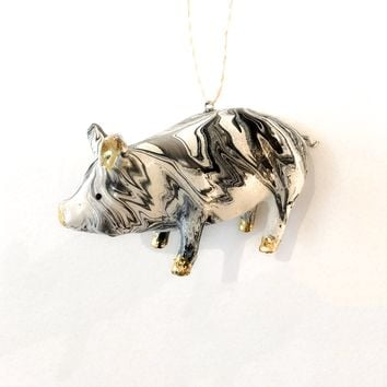 Marbled Pig Ornament