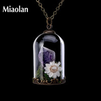 Handmade Natural Stone Crystal Amethyst Necklaces Women Flower Terrarium Quartz Point Raw Amethyst Pendant Jewelry