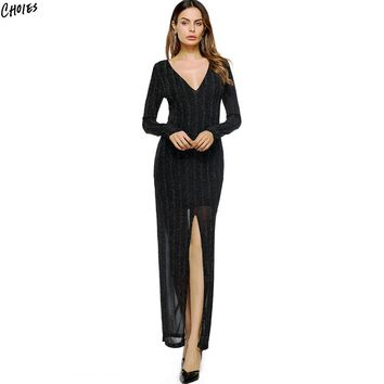 Black Plunge Thigh Split Long Sleeve Maxi Dress With Lining Women Deep V Neck High Waist Vintage Elegant Party Dresses