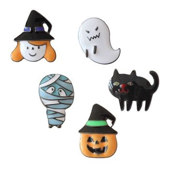 Metal Enamel Black Cat White Ghost Witch Badges Pumpkin Brooches Pin For Kids Girls Children Clothing Backpack Halloween Gifts