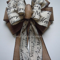 Ivory Rustic Burlap Christmas Tree Bow Vintage Merry Christmas Scripts Bow Christmas Wreath Swag Bow Christmas Party Decoration Bow