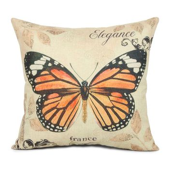 Butterfly Pattern Design Vintage Cushion Covers Decorative Throw Pillow Cover Cases for Sofa Chair Seat Retro Home Decor