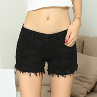 Black Fringed Denim Shorts