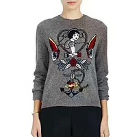 Valentino Women Print Fashion Knitwear Top Sweater Pullover