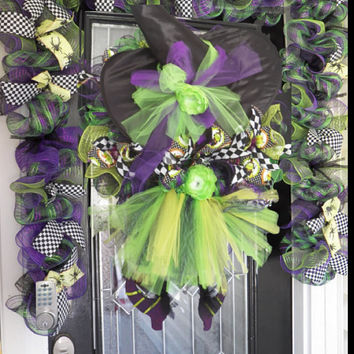 Wicked Witch Halloween Wreath with Matching Door Garland, Halloween Decoration, Door Hanger, Wreath for Door, Deco Mesh