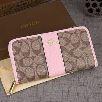 Coach new pattern print leather contrast color bag wallet
