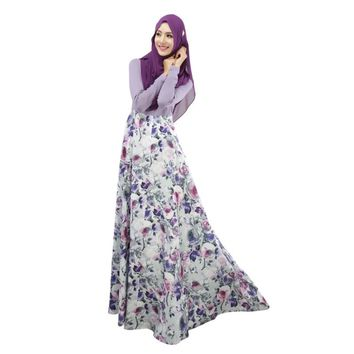 Women Sexy Vestidos Large Size Floral Kaftan Abaya Jilbab Islamic Muslim Long Sleeve Maxi Dress Party Dresses