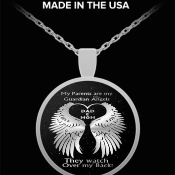 My parents are my guardian angels - mom and dad watch over me - silver pendant necklace