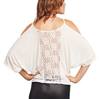 Cold-Shoulder Lace Back Tee | Wet Seal