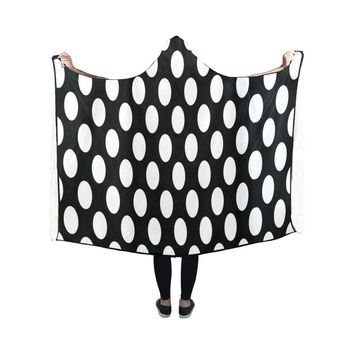 Black and white polka dot hooded blanket