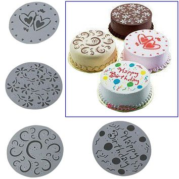 4 Pcs/Set Cake Spray Mold Happy Birthday Flowers Heart Printed Pattern Stencils Cake Decoration Mould Bakery DIY Cake Tools