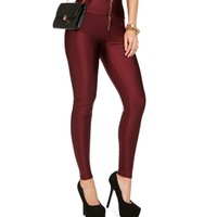 Sale-wine Front Zip High Waisted