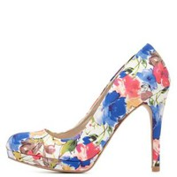 Qupid Floral Print Mini Platform Pumps - White Combo