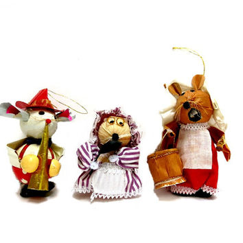 Mice Christmas Tree Ornaments Three 1960s Taiwan Vintage Kitchen Mice Musican Mouse