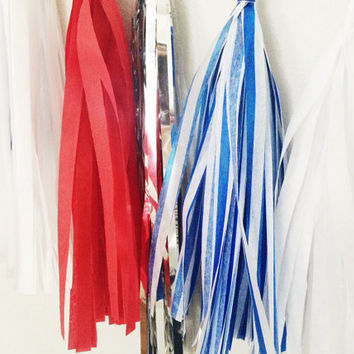 Patriotic Red White and Blue Tassel Garland - Fourth of July Decor, Patriotic Decor, Red White and Blue Decor, and Party Decoration