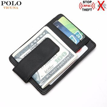 VICUNA POLO Genuine Leather RFID Wallet Minimalist Ultrathin Mens Money Clip Wallet Rfid Blocking Front Pocket Slim Wallet