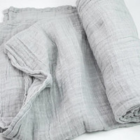 Muslin Swaddle Blanket in solid light grey - made from 100% cotton double gauze - mini lovey or classic swaddle size