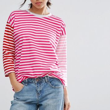 ASOS T-Shirt in Oversized Cutabout Stripe at asos.com
